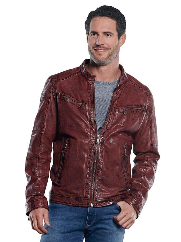 Engbers Jacke im Bikerstyle mit gebrauchter Warenoberfläche, Rubinrot