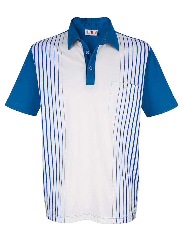 Roger Kent Poloshirt van onderhoudsarm materiaal, Ecru/Blauw