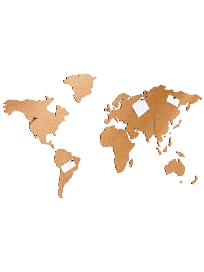 Living Weltkarte aus Kork, selbstklebend, Braun