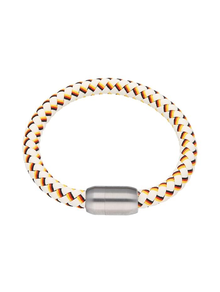 Jacques Charrel Armband weiß, geflochten, in Deutschland-Optik mit Magnetverschluß, mehrfarbig