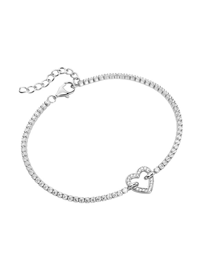 Smart Jewel Armband Zirkonia Steine, Herz, Silber 925, Silber