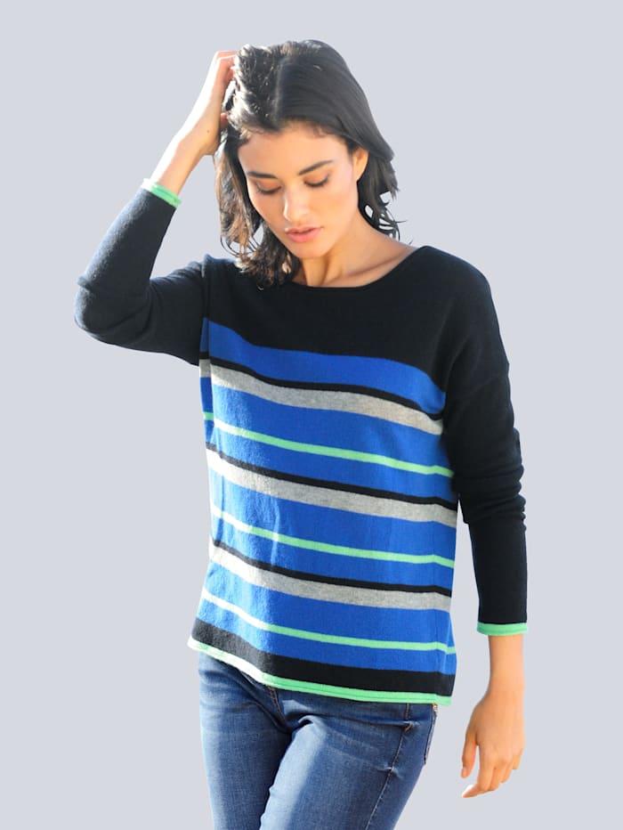 Alba Moda Pullover aus hochwertiger Kaschmir-Qualität, Marineblau/Grün/Grau