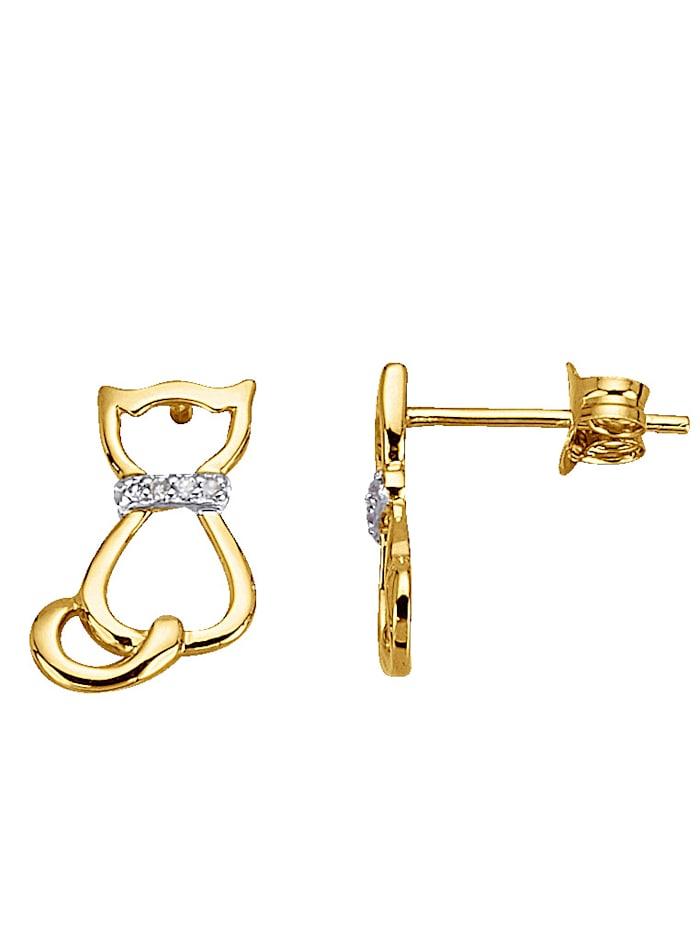 Katzen-Ohrstecker mit Diamant, Gelbgoldfarben