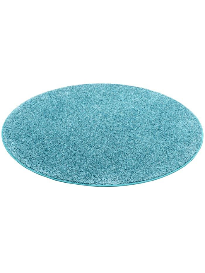 Snapstyle Hochflor Velours Teppich Mona Rund, Blau