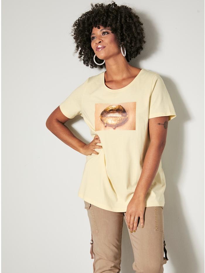 Angel of Style Shirt met kusmondjesmotief, Vanille
