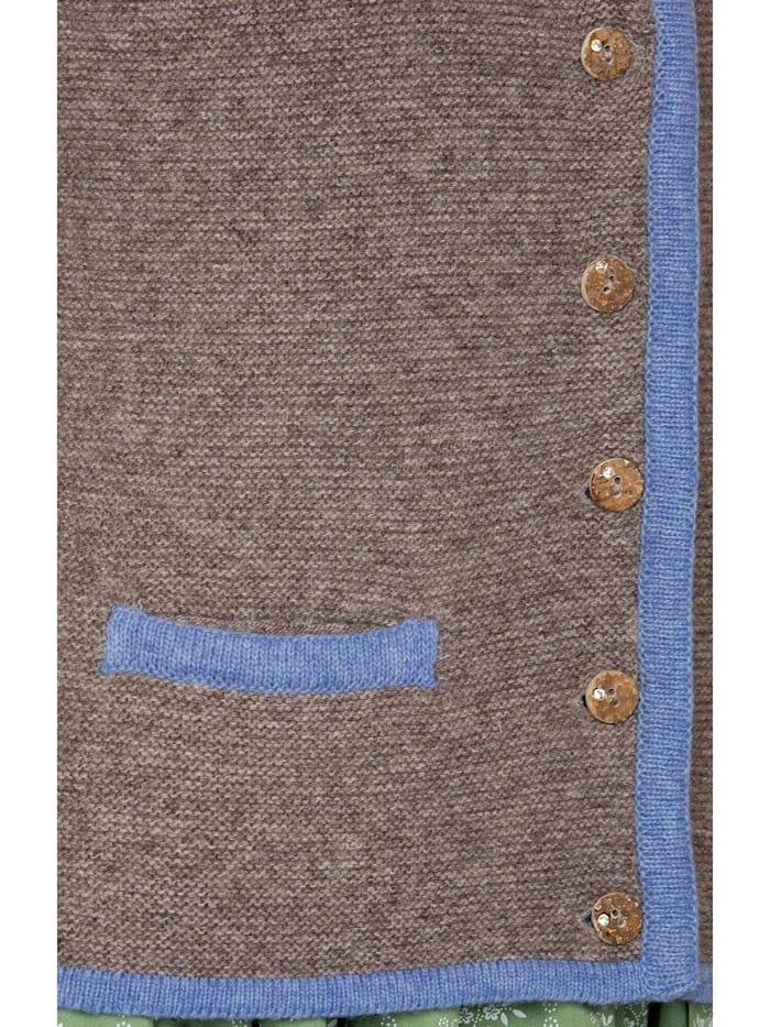 Strickjacke CARO trüffel-bleu