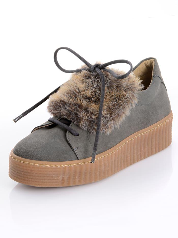 Alba Moda Sneaker mit Kunstfelllasche, Grau