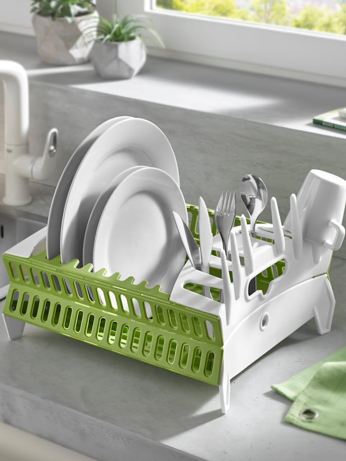 HELU Kokoontaitettava astiankuivausteline, Vihreä/Valkoinen