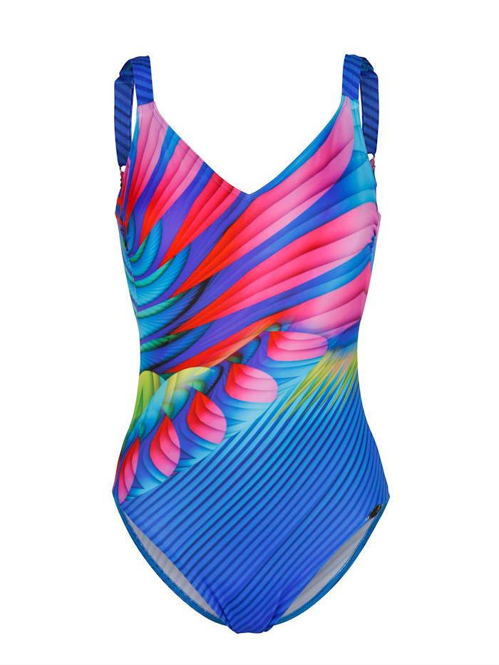Sunflair Badeanzug mit strahlenförmigen Druck, Blau