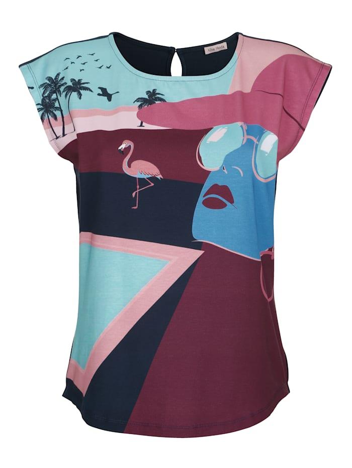 Alba Moda Strandshirt mit Motivdruck, Blau