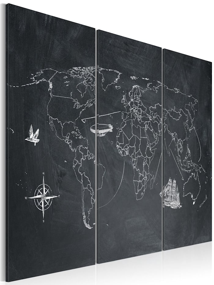 artgeist Wandbild Reise um die Welt - Triptychon, Weiß,Grau