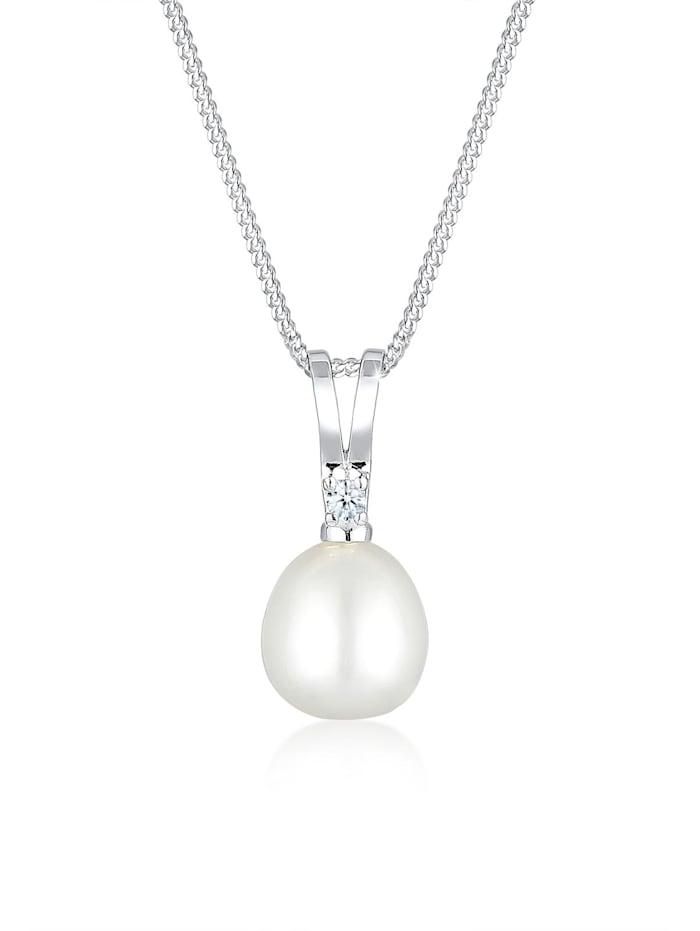 DIAMONDS Halskette Süßwasserzuchtperle Diamant 925 Sterling Silber, Weiß