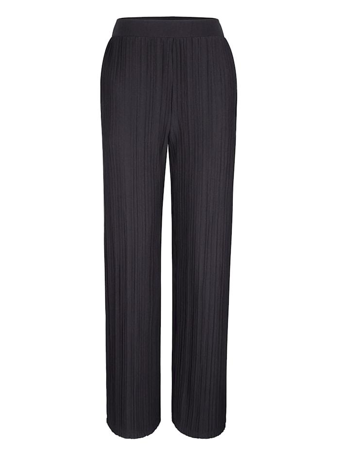 Blue Moon Pantalon de loisirs en jersey plissé, Noir