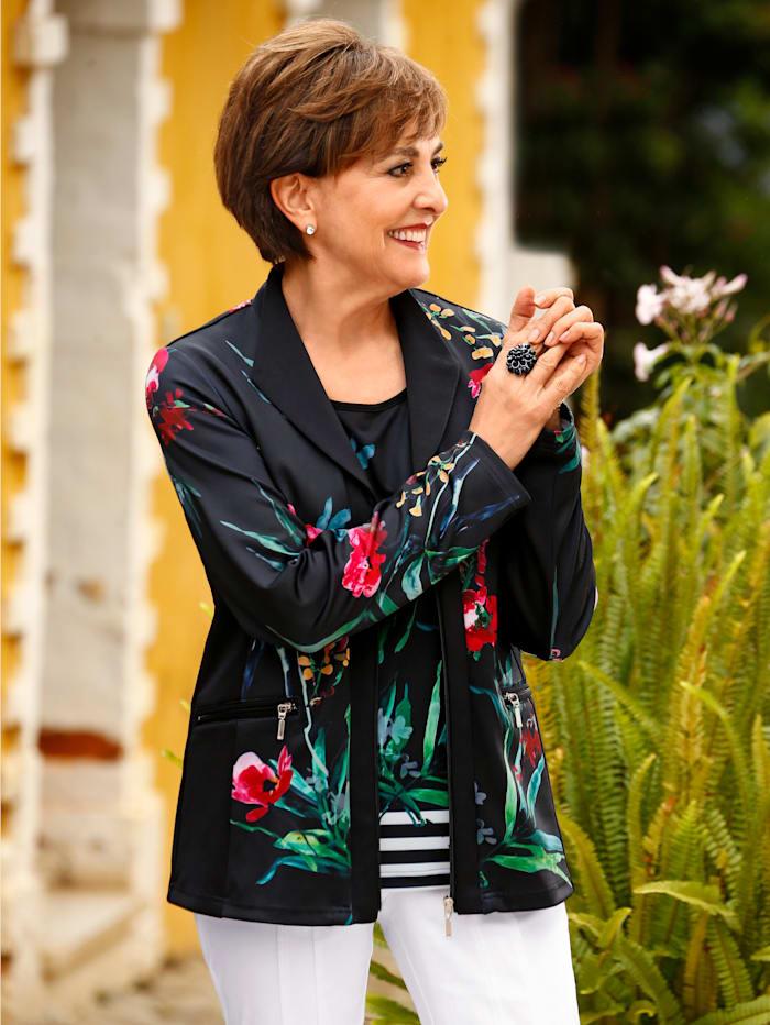 Paola Jerseyblazer mit floralem Druckdessin, Schwarz