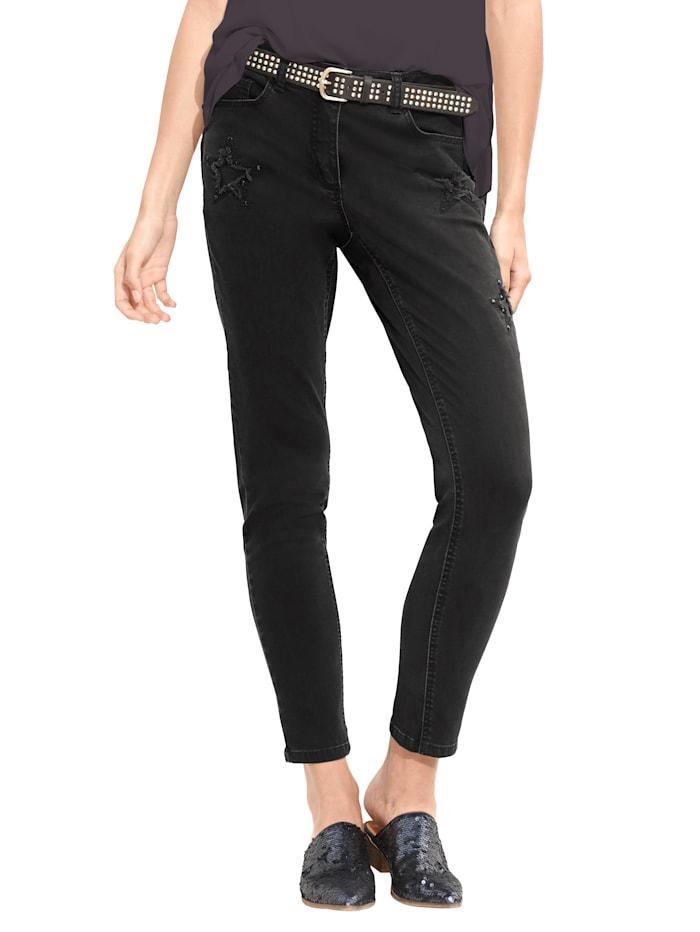 AMY VERMONT Jeans met stervormige cut-outs, Black