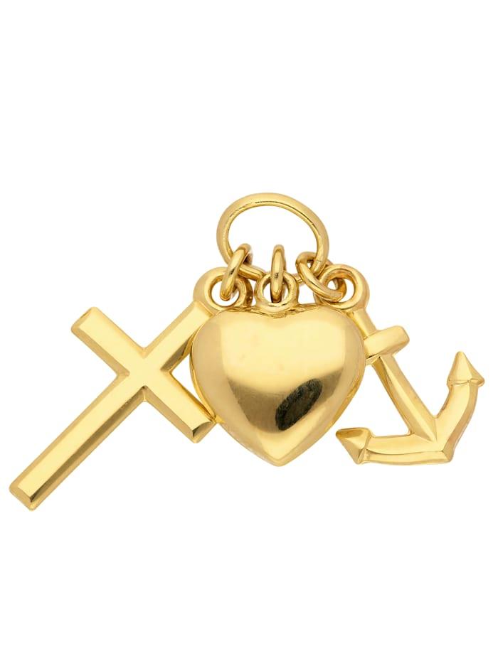 1001 Diamonds Damen Goldschmuck 333 Gold Anhänger Glaube-Liebe-Hoffnung, gold