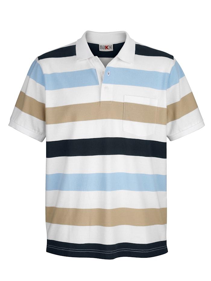Roger Kent Polo à motif rayé tissé-teint, Blanc/Beige/Bleu