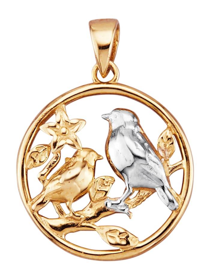 Hänge – fågel i 9 k guld, Guldfärgad
