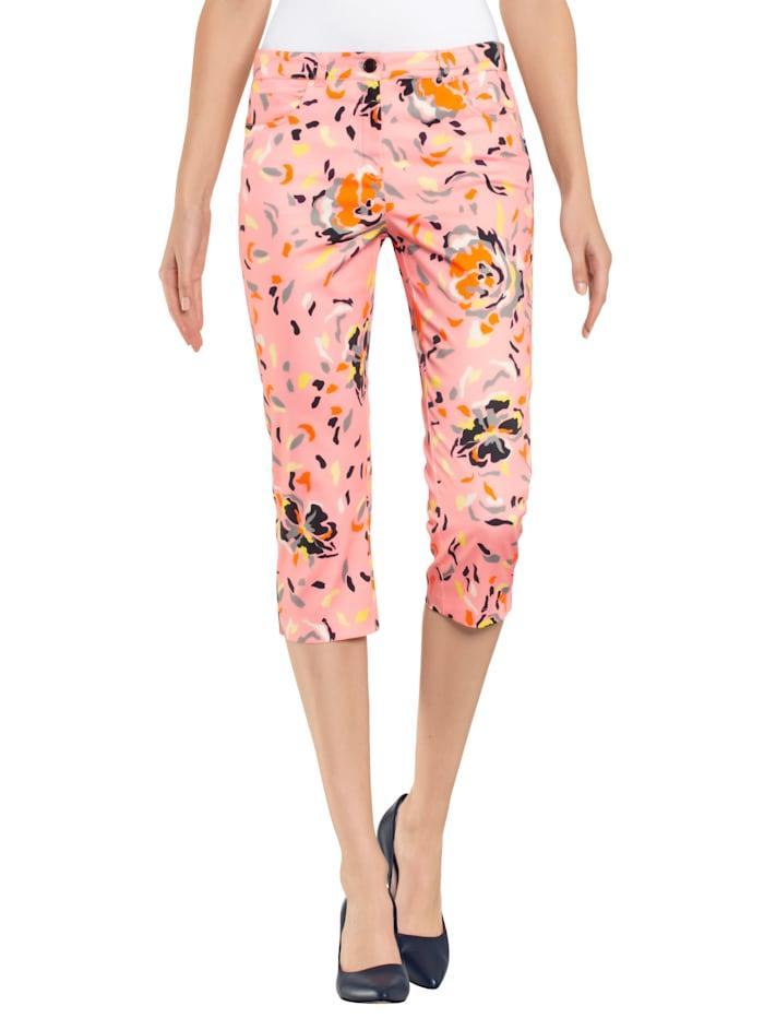 Alba Moda Capribroek met kleurrijk dessin allover, Roze/Oranje/Wit