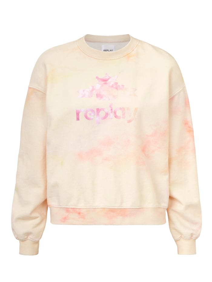 REPLAY Sweatshirt Batik, Off-white