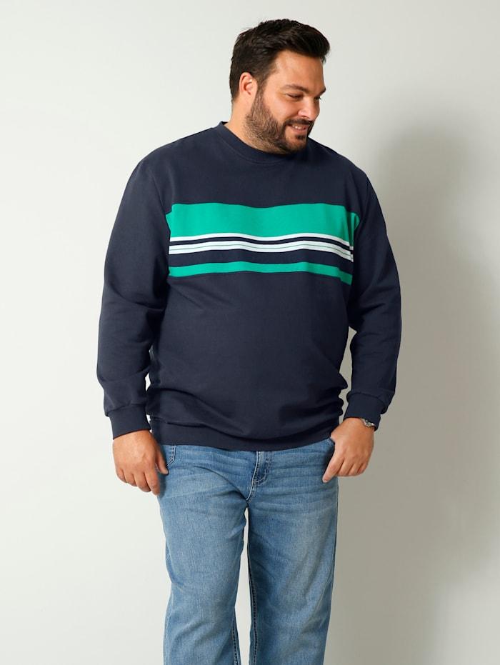 Men Plus Sweatshirt aus reiner Baumwolle, Marineblau