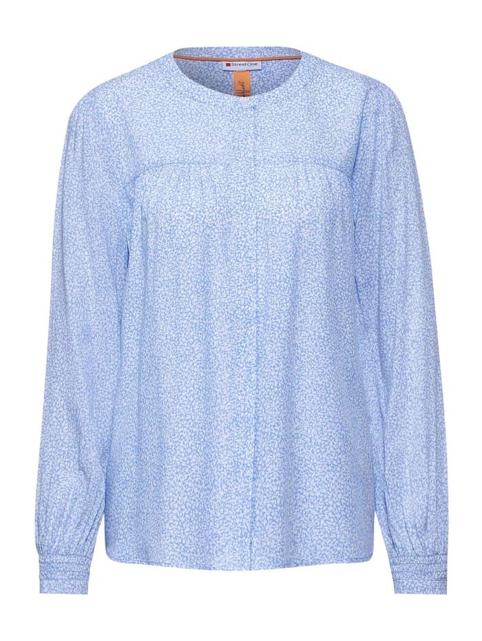 Street One Print-Bluse mit Smok-Detail, angel blue