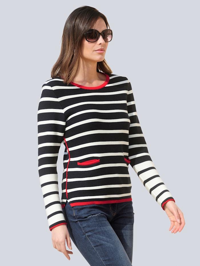 Alba Moda Pullover im Streifenmuster, Marineblau/Weiß/Rot