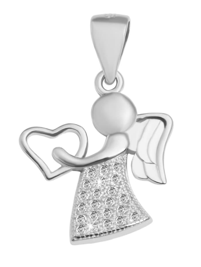 1001 Diamonds Damen Anhänger Engel aus 925 Silber mit Zirkonia, silber