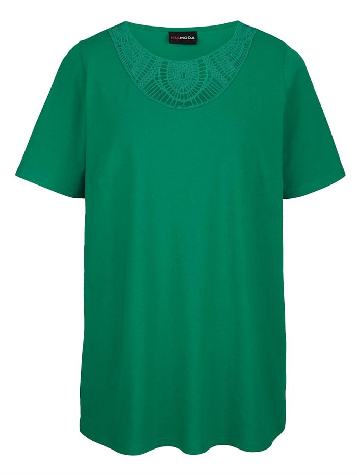 MIAMODA Shirt mit transparenter Spitze am Ausschnitt, Grün