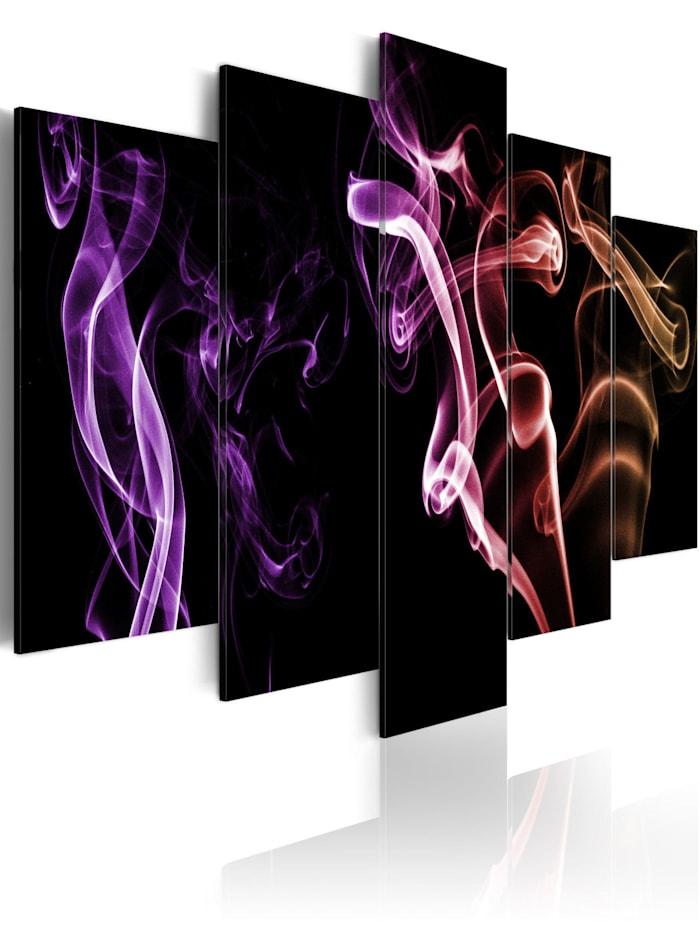 artgeist Wandbild Bunter Rauch - 5 Teile, Schwarz,rosa,Violett,Beige