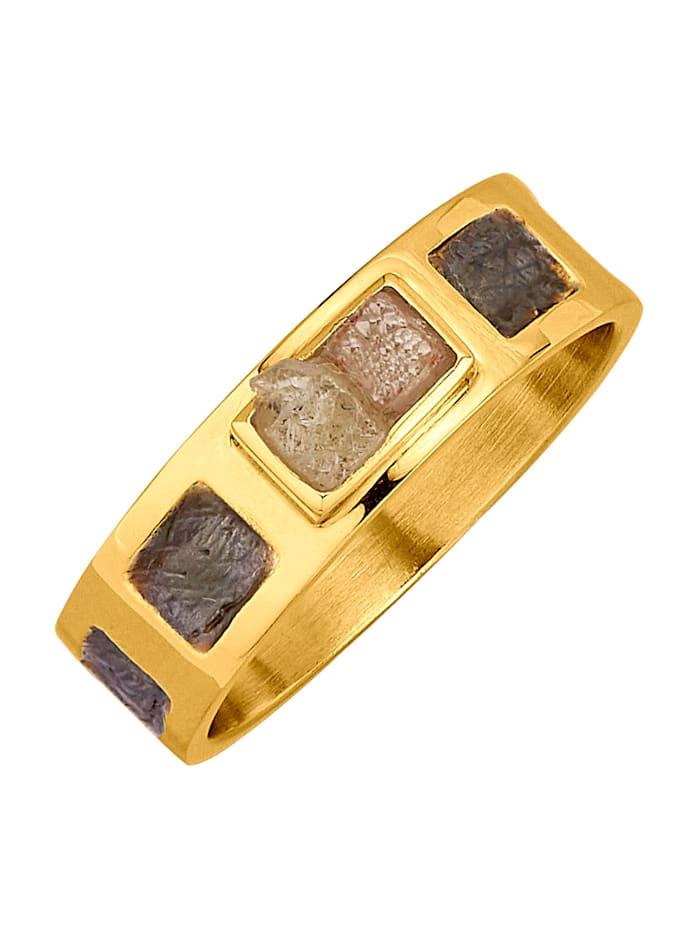 Amara Atelier Bague avec 2 diamants bruts, Multicolore