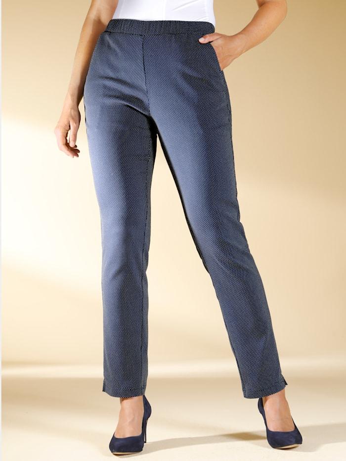 m. collection Jersey broek met stippendessin, Marine/Wit