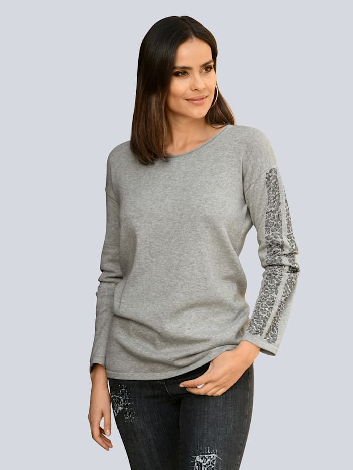 Alba Moda Pullover Mit Strasssteinchen entlang des Ärmels, Grau