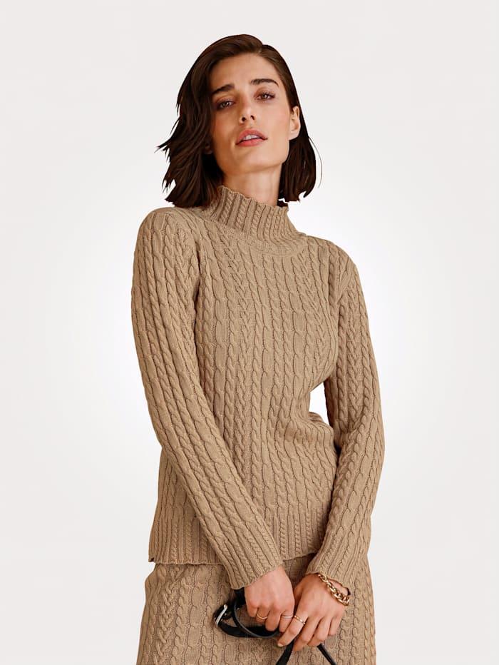 MONA Pullover mit raffiniertem Stehkragen, Hellbraun