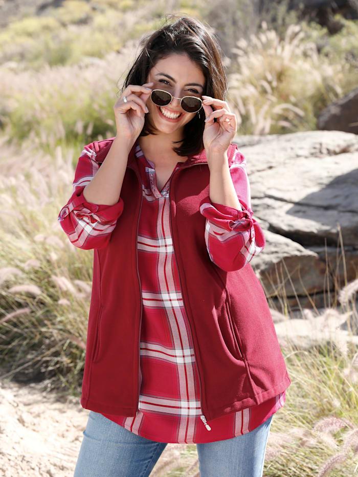 MIAMODA Fleeceweste mit praktischen Taschen, Rot