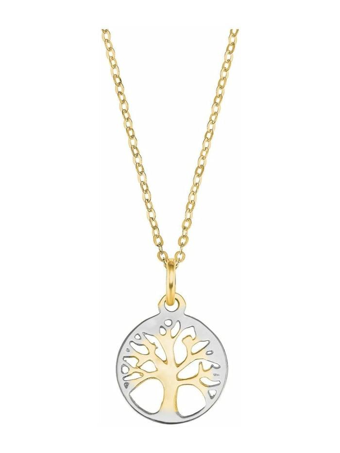 amor Kette mit Anhänger für Damen, Gold 375, Lebensbaum, Gold