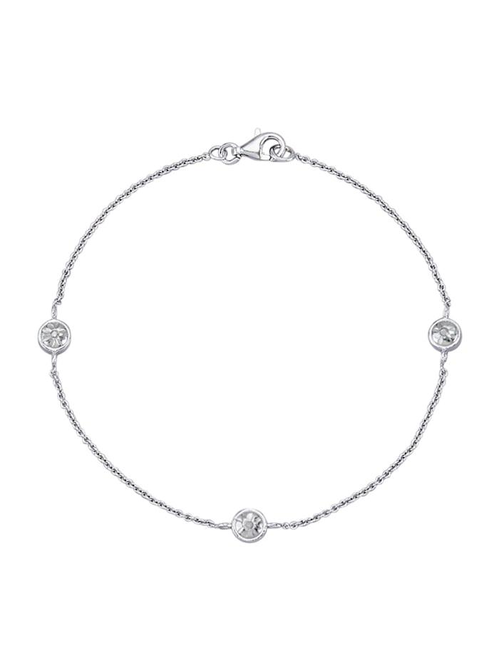 Armband med diamanter, Silverfärgad