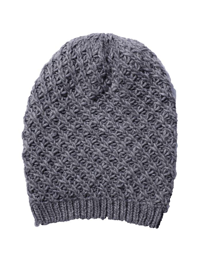 Alba Moda Mütze aus weichem Strick, Grau