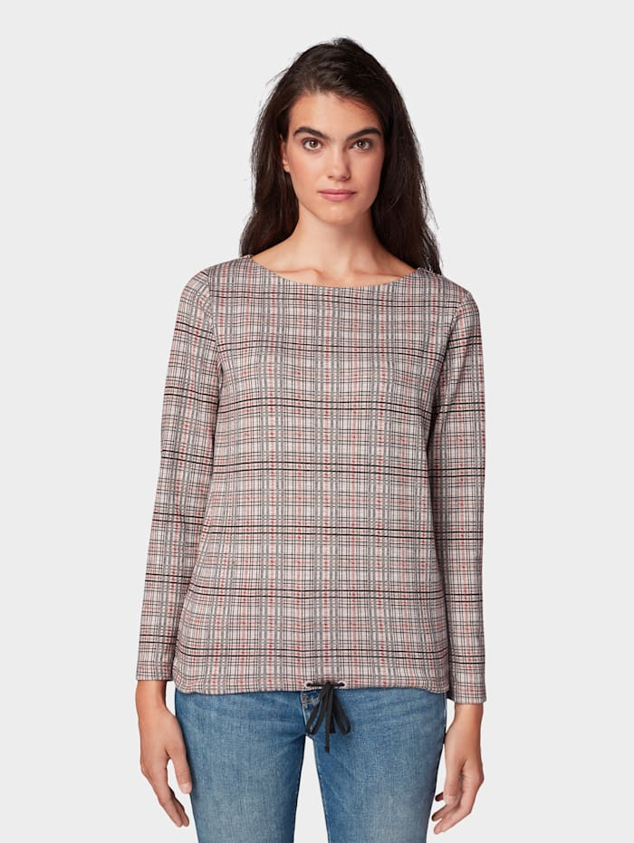Tom Tailor Kariertes Sweatshirt, black orange small check
