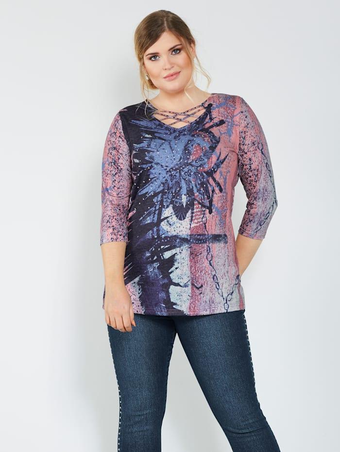 MIAMODA Shirt mit dekorativer Schnürung am Ausschnitt, Lachs/Blau