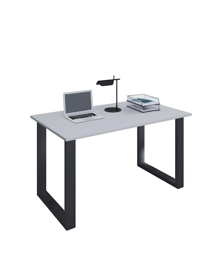 VCM Büromöbel Schreibtisch Lona U Alu Schwarz, B. 140 x T. 80 cm: Grau