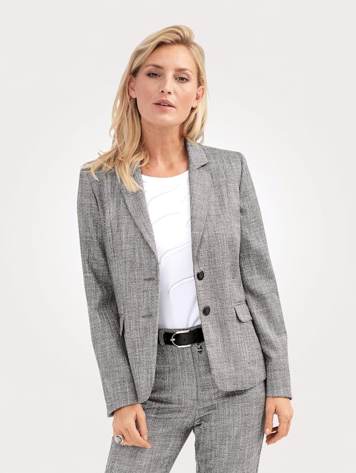 MONA Blazer mit schimmerndem Pepita-Muster, Grau/Silberfarben