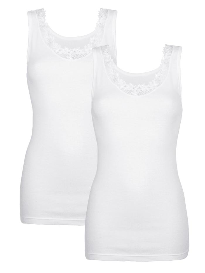 Simone Hemdjes met kant aan de hals 2 stuks, 2x wit
