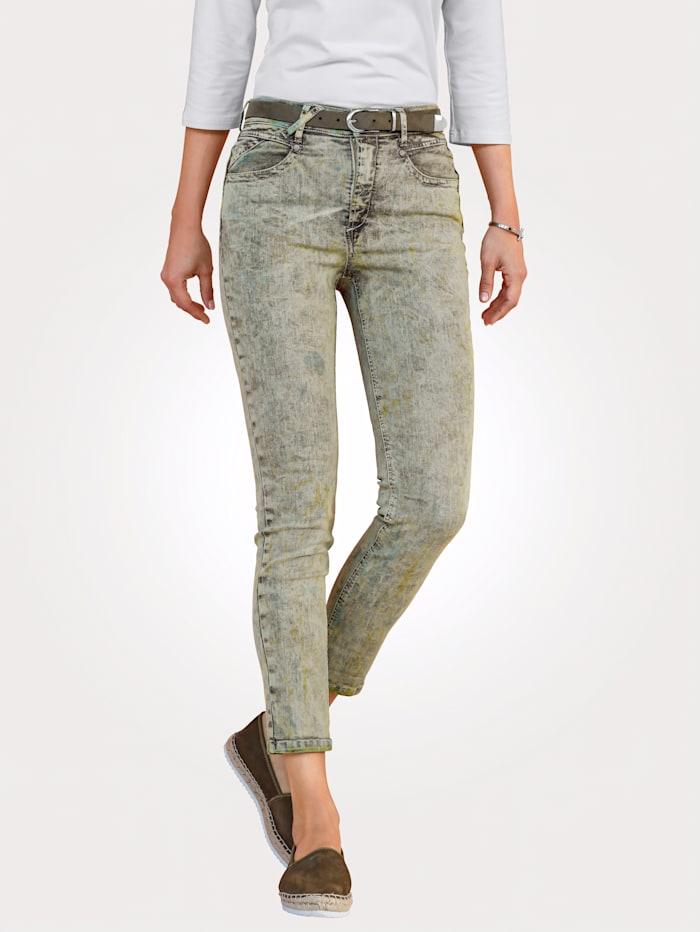 MONA 7/8-Jeans mit effektvoller Färbung, Schilf