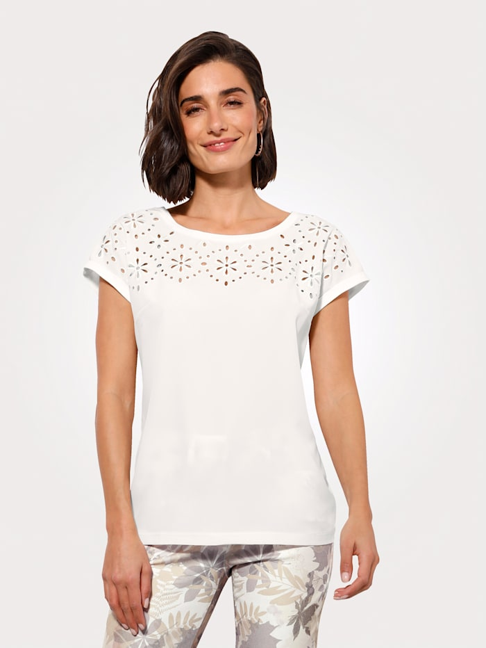 MONA Shirt van een materialenmix, Ecru