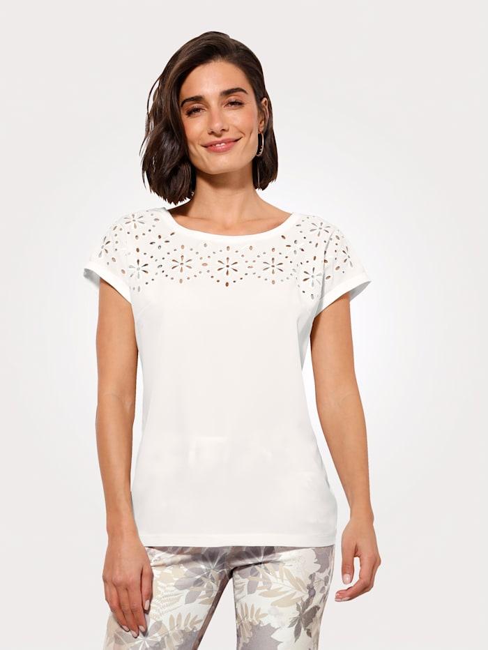 MONA T-shirt en matières mélangées, Écru