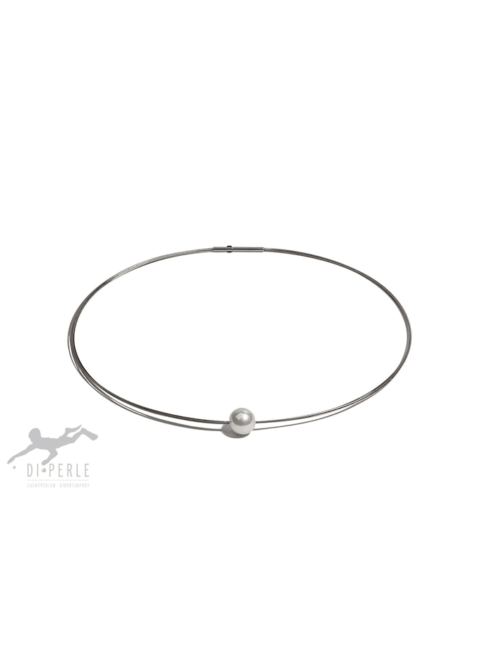 DI PERLE Damen Perlenschmuck Edelstahl Süsswasser Perlen Halsreif ( 42 cm ), weiß