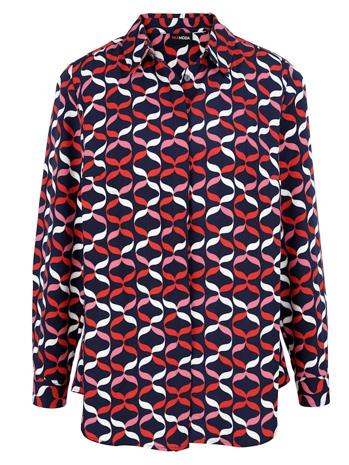 MIAMODA Bluse med skjult knappestolpe, Marine/Rød/Hvit