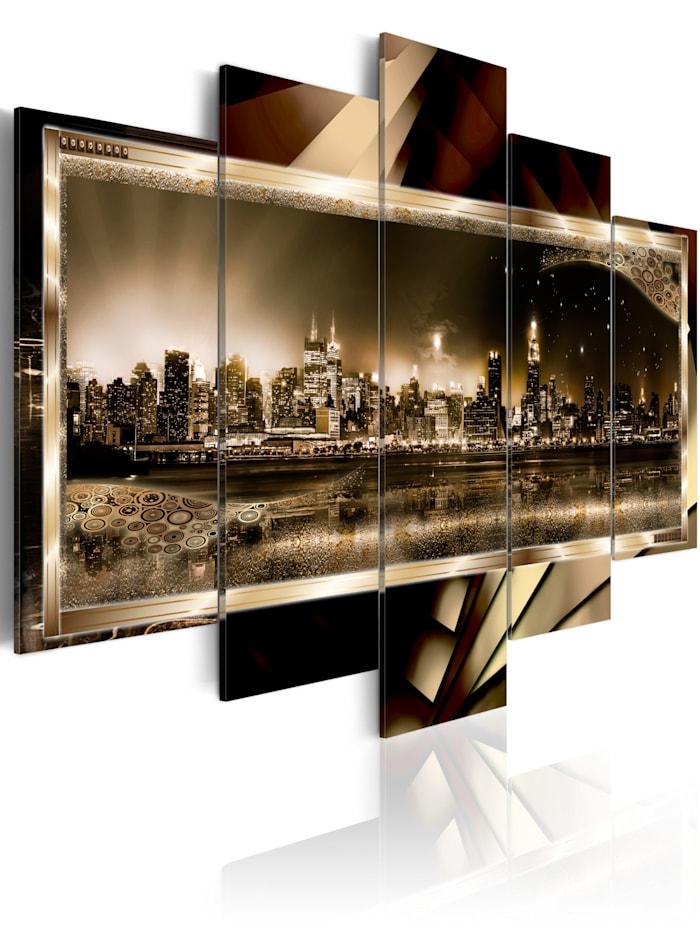 artgeist Wandbild New York: Starry night - sepia, Braun,Beige,Sepia
