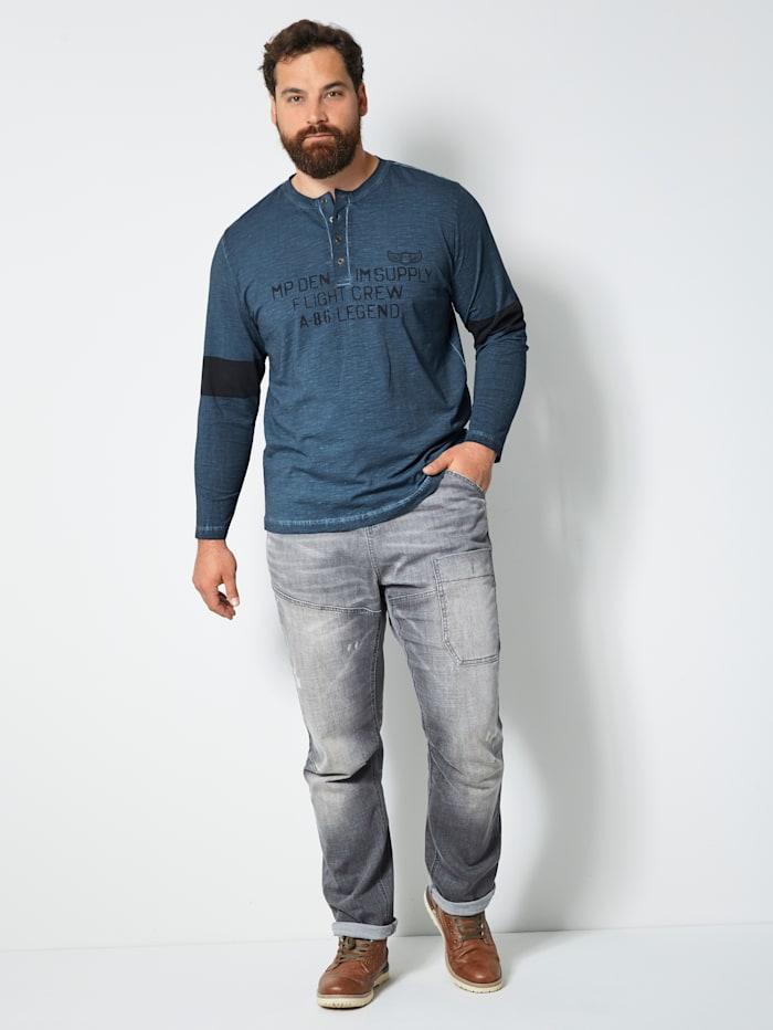 Henley Langarmshirt aus reiner Baumwolle